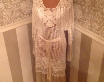 ON HOLD 20's Crochet Dress Silk Fringe Stunning Old Hollywood Glamour Wedding Gown S/M