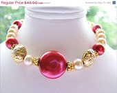 Rosy Red Coin Pearl Bracelet, Champagne Pearl Bracelet, Gold Filled Bracelet, Large Floral Gold Vermeil Beads, Special Gift, FREE SHIPPING