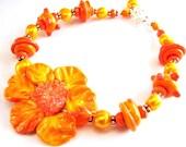 Orange Flower Bracelet, Artisan Sculptured Lampwork Glass, Freshwater Pearls, Sterling Silver, Stunning Gift For Her, Ready To Ship