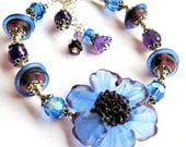 Blackberry Lampwork Flower Bracelet, Amethyst Gemstone Bracelet, Sterling Silver, Handmade Exclusive Gift For Her, On SALE, Ready To Ship