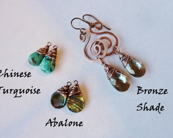 Hammered Copper Swirls with your choice of Chinese Turquoise, Bronze Swarovski Crystals, or Abalone Drops