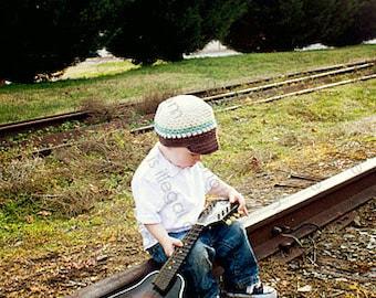 Newsboy Hat Crocheted Boys Toddler Ivory, Chocolate, Light Blue Visor Beanie Skater Hat