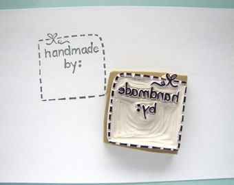 Handmade by rubber stamp stitching bow tag stamp