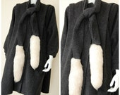Wool Cape Vintage Dark Charcoal Foxtail Fur Draped Wool Winter Cape Coat  (one size fits most)