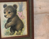 Vintage Adorable Bear Framed Picture