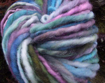 Handspun yarn, handpainted,Super Bulky Thick and Thin Art Yarn, Burly Spun Felted  wool art yarn-Cirque