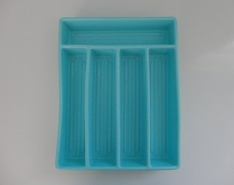 VINTAGE turquoise plastic FLATWARE silverware TRAY