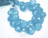 Chalcedony Gemstone. Semi Precious Gemstone Bead. Faceted Blue  Heart Briolette, 12-13mm.  3 Briolettes. (8ch4)  SALE - 30% Off. Was 9.20