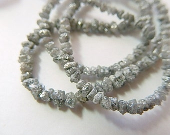 Silver Gray DIAMOND Gemstone, Rough Nugget Rondelles, Natural, Precious Gemstone. Choose Your Size.(1dia1).