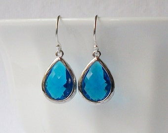 LAST ONE Bright Ocean Blue Crystal Drop Earrings