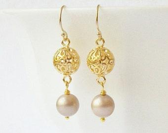 Beige Taupe Pearl Dangle Earrings Wedding Jewelry