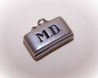 Vintage Sterling Silver Charm - MD Bag with Baby