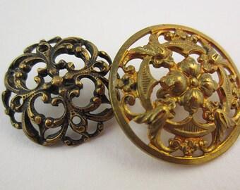 antique buttons brass openwork 19th century
