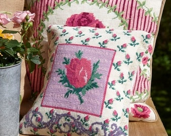 Needlepoint pattern ROSEBUD - cross stitch,needlepoint,embroidery pattern,tapestry,roses,pillow,floral,needlecraft,diy,anette eriksson,pink