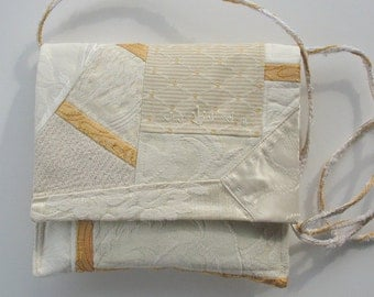 Quilted Cross Body Purse, ivory patchwork purse