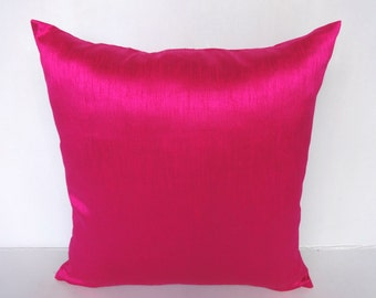 2 Hot Pink Art Silk Pillow Covers On Sale cushion cover throw pillow 18 inchset of 2 pcs on 20% discount