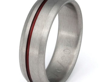 thin red line titanium band firefighters ring red ring r25 - Firefighter Wedding Rings