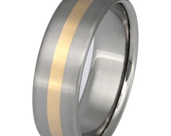 Gold Titanium Wedding Band - Gold Ring - Custom Ring - g9