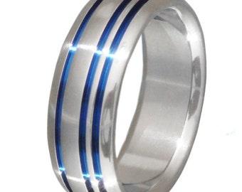 Titanium Band - Thin Blue Line - Blue Titanium Ring - b20