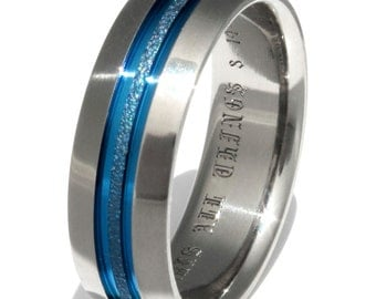 Blue Frost Titanium Wedding Band - Thin Blue Line Ring - b16