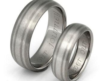 Titanium Platinum Wedding Bands - Matching Ring Set - stp20