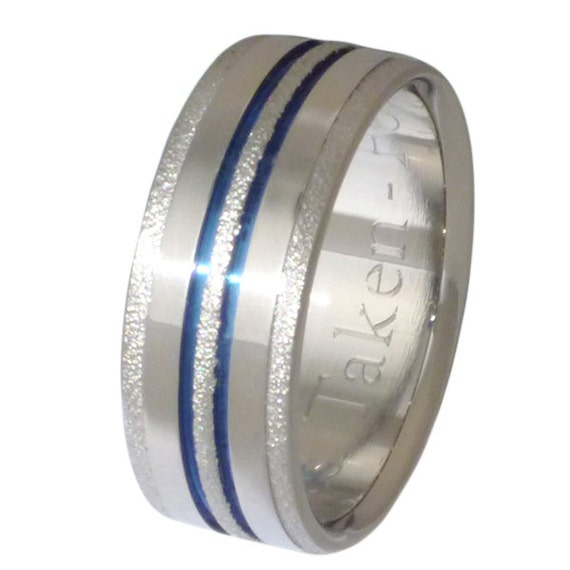 Frost Titanium Ring - Blue Stipes Ring - Thin Blue Line Band - Dazzling f20