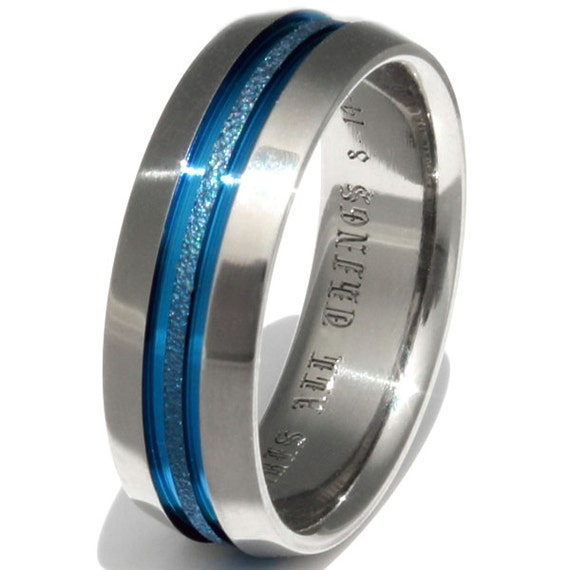 Blue Frost Titanium Wedding Band Thin Blue Line Ring b16