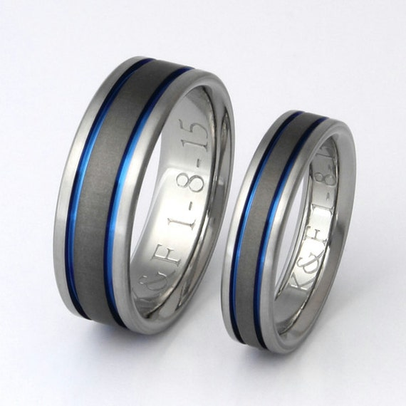Titanium Wedding Band Set - Thin Blue Line Rings - His and Hers Matching - stsa12