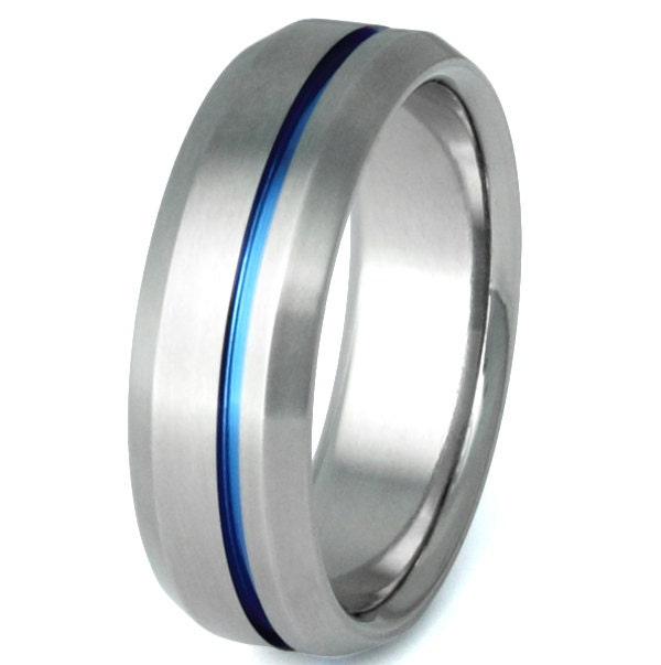 Thin Blue Line Titanium Band Wedding Ring Blue Custom Ring