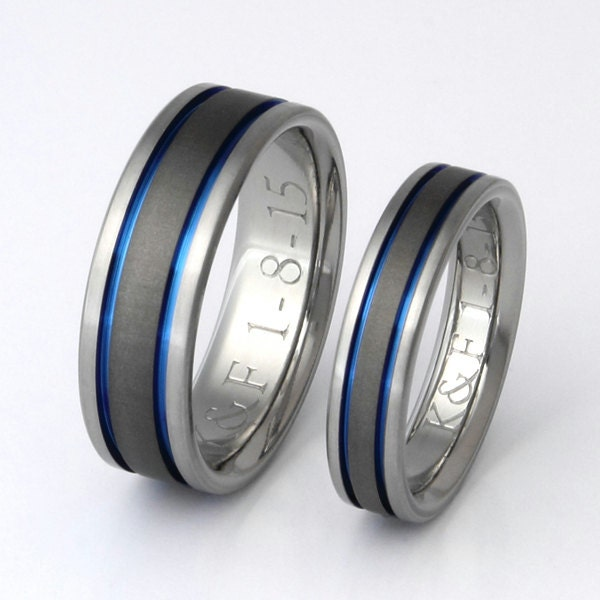 Titanium Wedding Band Set Thin Blue Line Rings His and