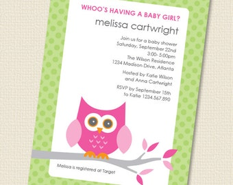 Baby Owl Girl Baby Shower Invitation Printable Personalized (Digital File)