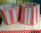 Lamp Shades Red Stripe Lampshade Hex 5x8x6 Clip - Vintage French Ticking Lamp Shade