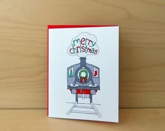Christmas Train - Merry Christmas Card - set of 8