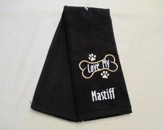 Mastiff Hand Towel, Pet Towel, Grooming Towel, Embroidered Dog Towel