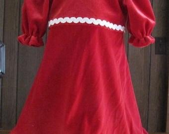 Lovely Red Velour Dress  for the American Girl Doll