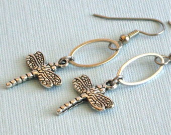 Silver Dragonfly Earrings - Dragonfly Jewelry, Nature Jewelry, Small Dragonfly Earrings
