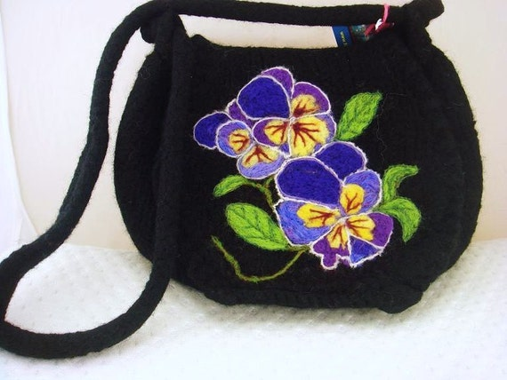 Felted Purse, felted handbag, Pansies, black handbag