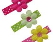 Happy Daisies Satin Hair Clip Set