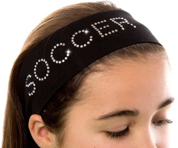 SOCCER HEADBAND Rhinestone Studded Cotton Stretch Headband - Choose Your Team Color - SOCCER