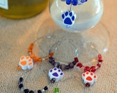 Assorted color dog, cat, animal paw print and glass bead memory wire wine glass coffe cup mug tags, charms