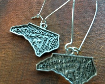 North Carolina Earrings, Antique Silver State Earrings