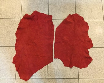 Red hot lambsuede leather - a total of 6 square foot hide (2 hides, cutting)