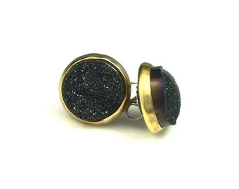 """Clearance 1/2"""" 12mm Round Black Druzy Drusy Post Stud Earrings in Antique Gold Bezel Cup with Nickel Free Titanium Posts"""