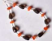 Faceted Carnelian Rondelle (4.5-5mm) / Smoky Quartz topdrill (9-10mm long) 73-17