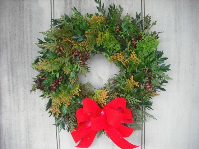 Fresh Boxwood and Cedar evergreen Christmas Wreath with your choice of color bow.