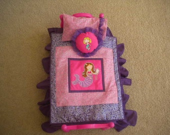 Purple and Pink Mermaid Doll Bedding for American Girl Doll or most 18 inch Dolls