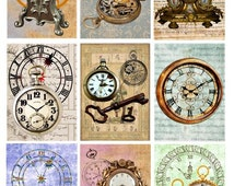 old clocks steampunk watches Digital download Collage Sheet image graphics 2.5x3.5 inch aceo printables for tags jewelry holders cards