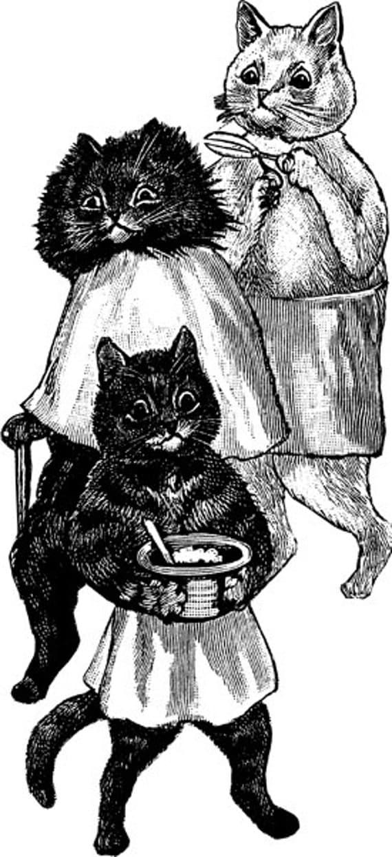 vintage CAT ART PRINTABLE animal illustration Digital download image graphics barber shop hair cut clipart png digital stamp black & white