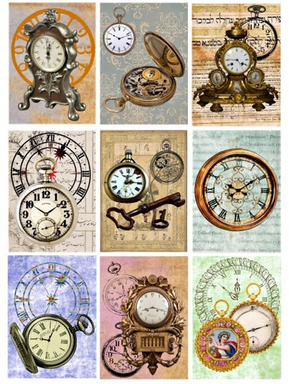 old clocks steampunk watches Digital download Collage Sheet pocket watch image graphics 2.5x3.5 inch clock printables watch digital image