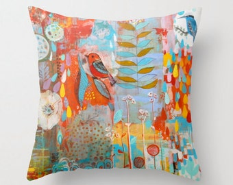 Bird art pillow cover,room decor, hand made, print from original painting